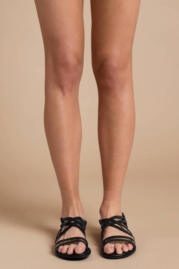 8cd84f4f597d Cute Black Sandals - Flat Sandals - Black Strappy Sandals -  25 ...