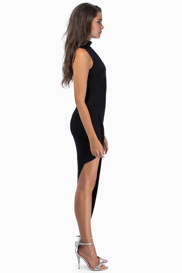Turtleneck Drape Midi Dress