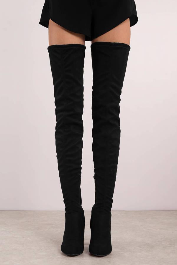 Black Boots Skinny Thigh High Boots Tall Black Dressy