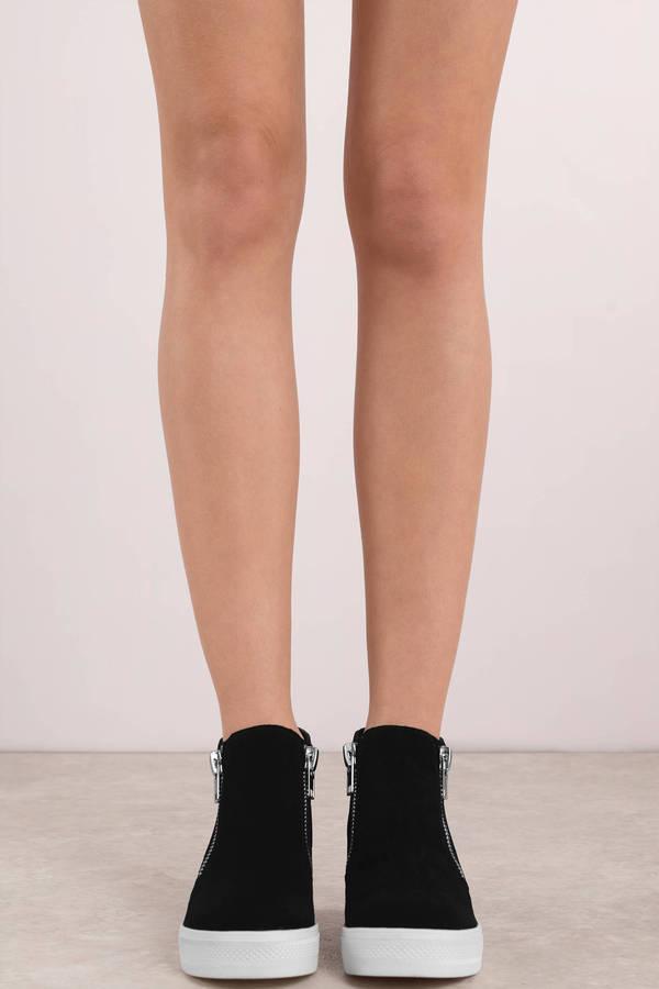 8706a96c15a Black Steve Madden Sneakers - Zip Up Sneakers - Black Suede Slip Ons ...