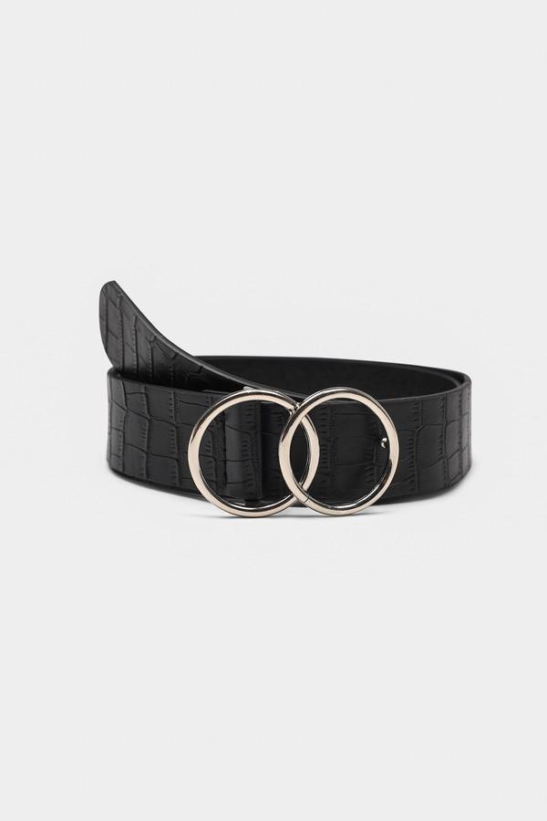 baf44f504 ... Tobi Belts, Black, Wesley Snake Embossed Double O-Ring Belt, Tobi