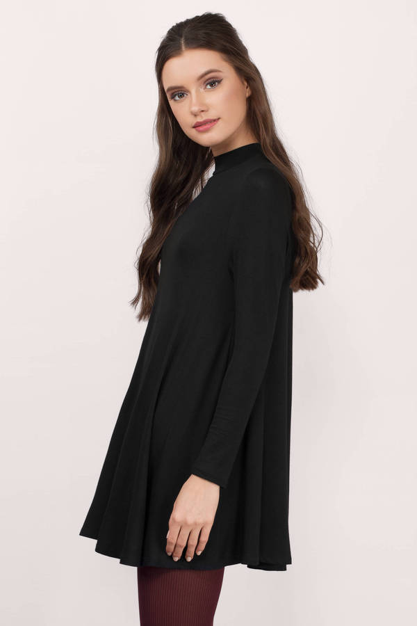 Cute Black Shift Dress - High Neck Dress - $58.00