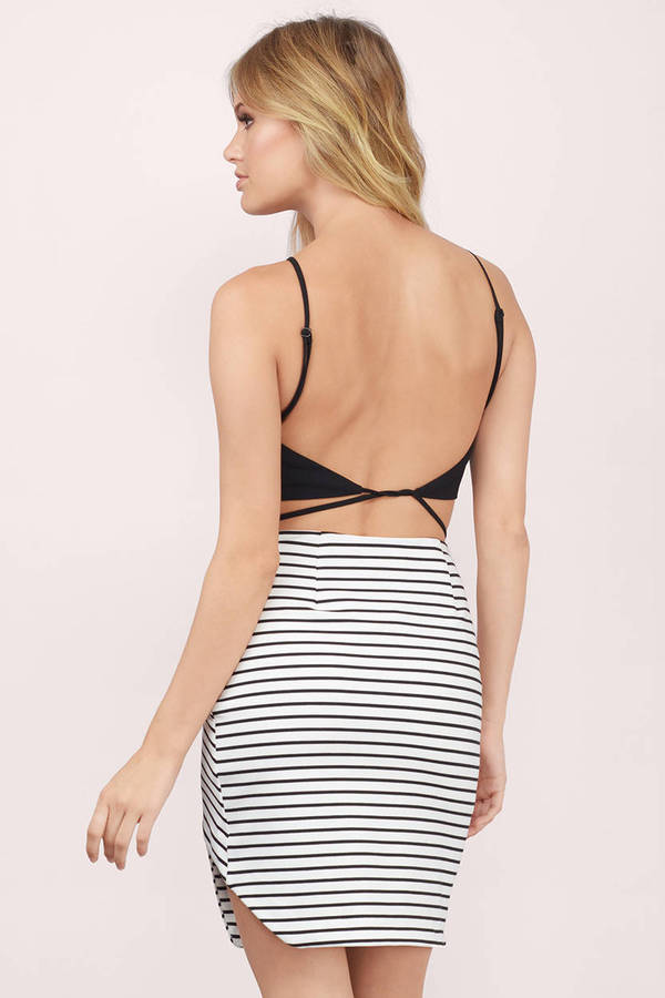 Trendy Black & White Skirt - Black Skirt - Asymmetric Skirt - $59.00
