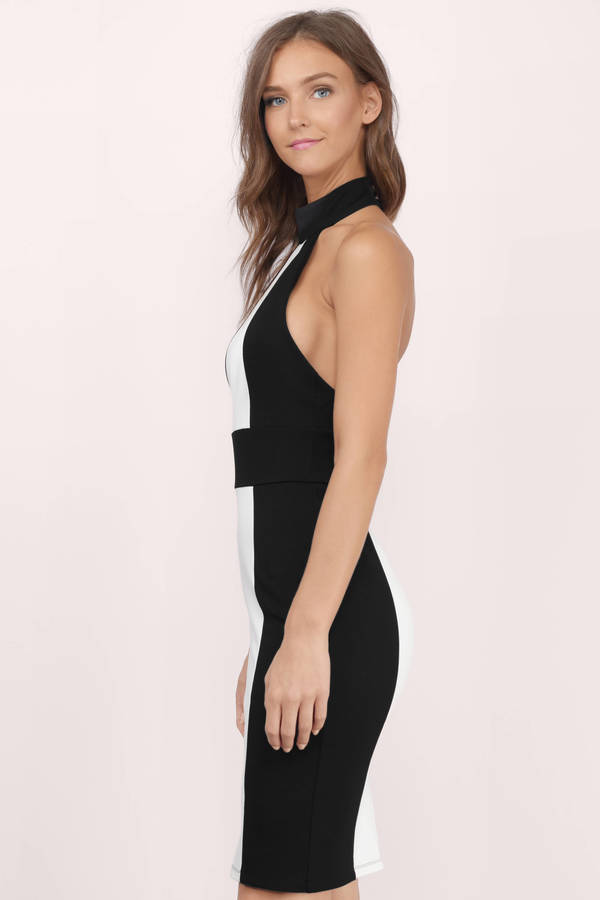 Trendy Black & White Bodycon Dress - Backless Dress - $24.00