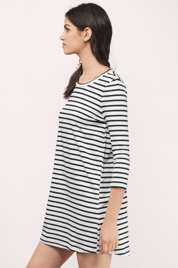 Black And White Dresses - Short- Striped- Going Out Party Dress - Tobi