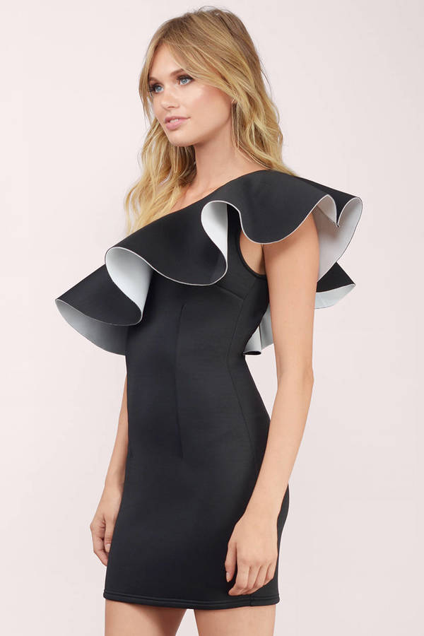 White and black one shoulder dress
