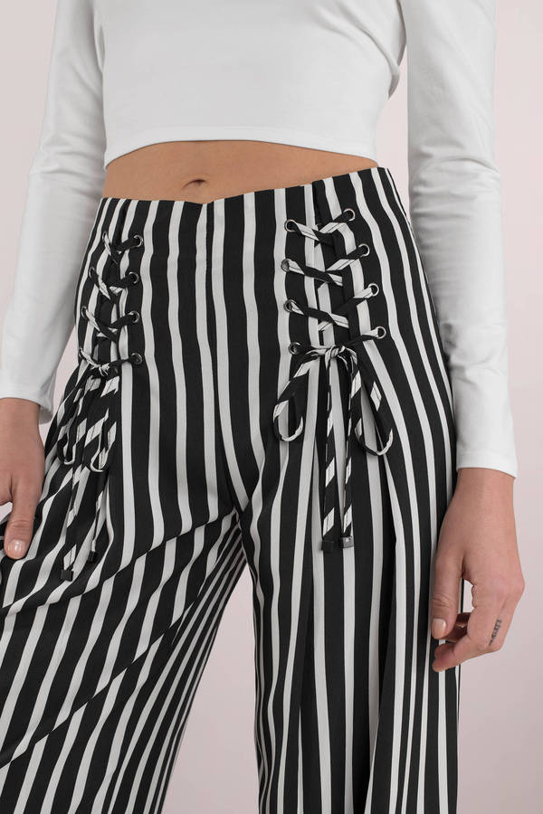 89ee81f10 Black Pants - Wide Leg Lace Up Pants - Black Beetlejuice Pants - $29 ...
