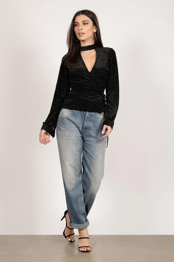 a5493ef7c1c895 Black Blouse - Animal Print Blouse - Black Velvet Blouse - $22 | Tobi US