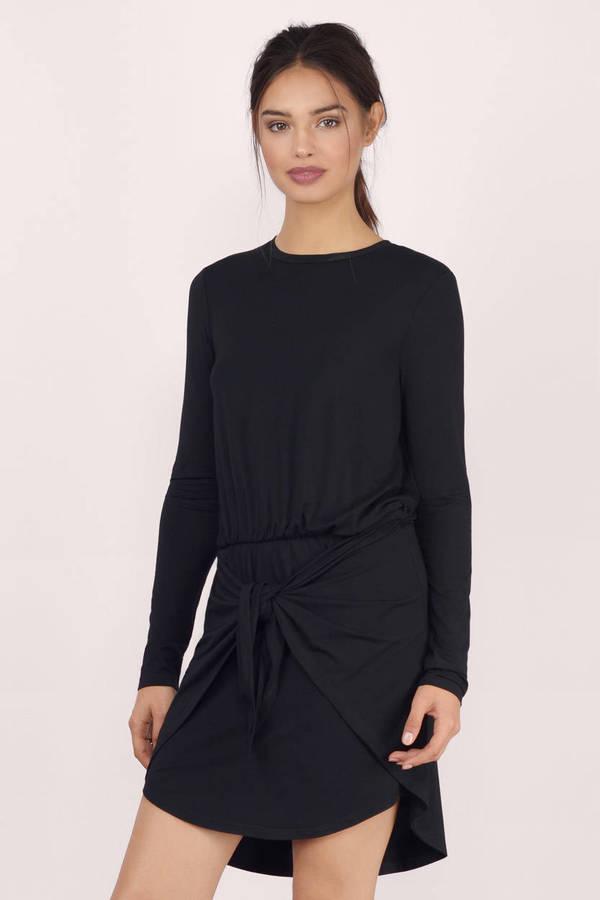 Trendy Black Wrap Dress Long Sleeve Dress Wrap Dress 9 Tobi Us