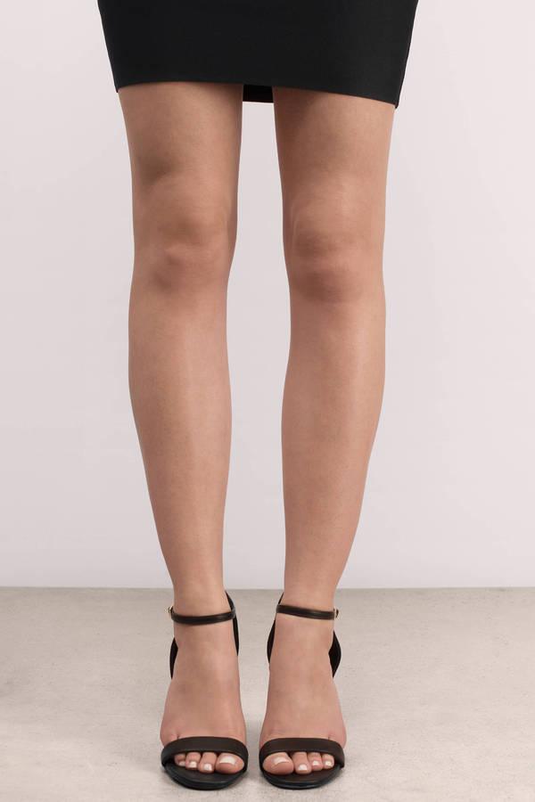 Trendy Black Heels - Block Heels - Ankle Strap Heels - Black Heels ...
