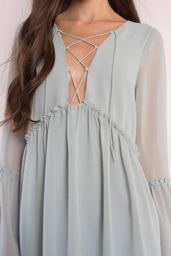 Cute Blue Day Dress - Lace Up Dress - Blue Dress - Day Dress - $66