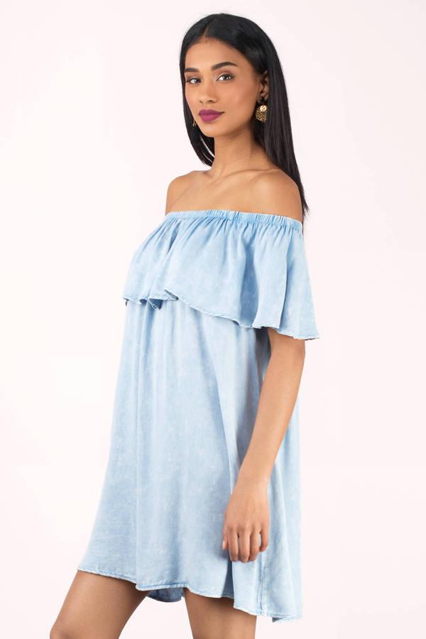 643c7a11c153 Cute Blue Dress - Coral Off The Shoulder Dress - Blue Shift Dress ...