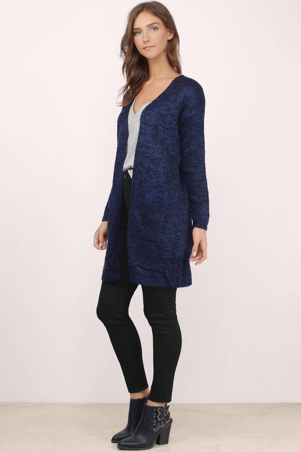 Cheap Blue Cardigan - Long Sleeve Cardigan - Blue Cardigan - $14 ...