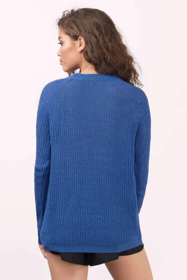 Blue Sweater - Long Sleeve Sweater - Long Sweater - $13 | Tobi US