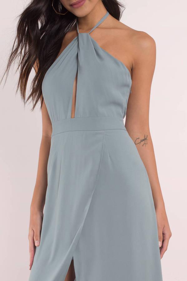 8fc0384233 Blue Dress - Keyhole Dress - Backless Dress - Sleeveless Maxi Dress ...