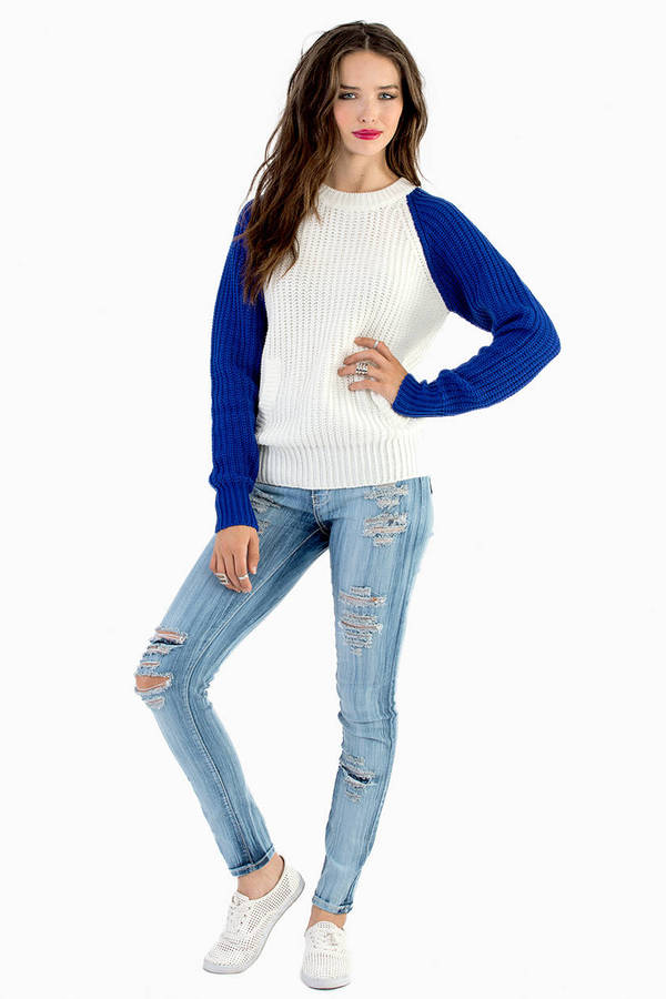 Cheap Blue Sweater - Blue Sweater - Knitted Sweater - Blue Top ...