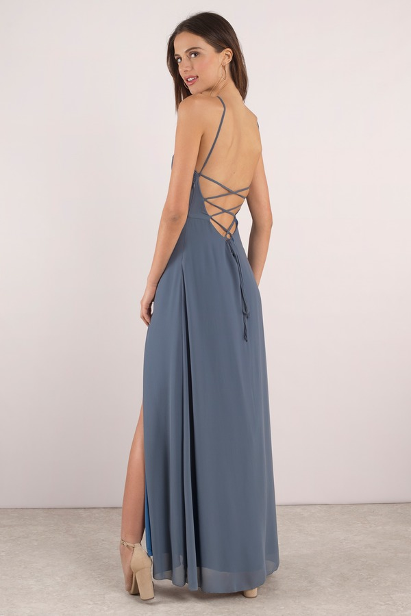Sexy Blue Dress Strappy Back Dress Front Slit Dress