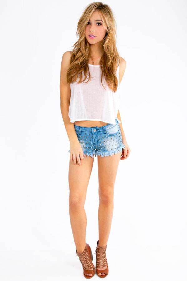 Reverse Studded Shorts