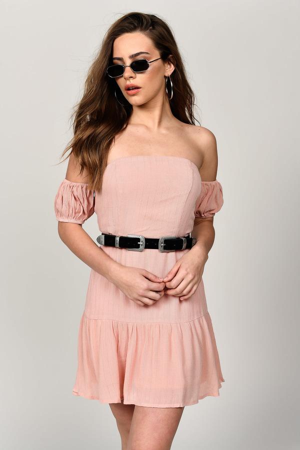 83d79a9f69d9 Ally Blush Off Shoulder Skater Dress Ally Blush Off Shoulder Skater Dress  ...