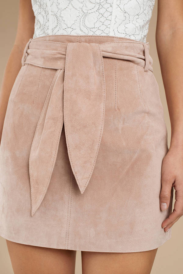 adc15fccaf Blush Pink Blank Nyc Skirt - Front Tie Skirt - Blush Pink Suede ...