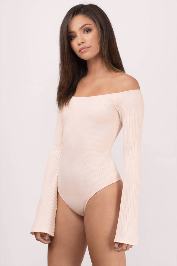Cute Blush Bodysuit - Bell Sleeve Bodysuit - Blush Bodysuit -  58 ... 99711899c