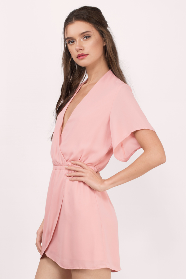 Blush Wrap Dress - Pink Dress - Deep V Dress - $29.00