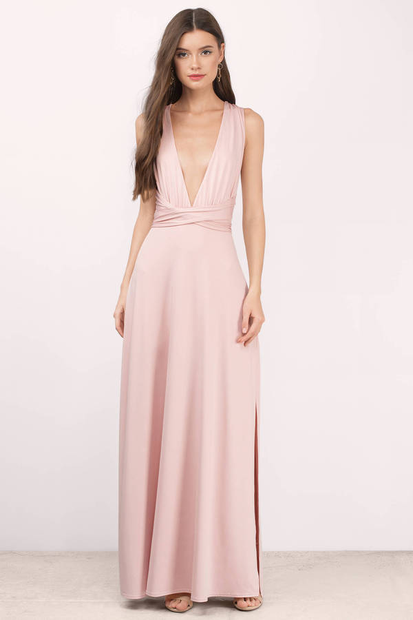 Lovely Blush Maxi Dress - Deep V Dress - Pink Dress - $70.00