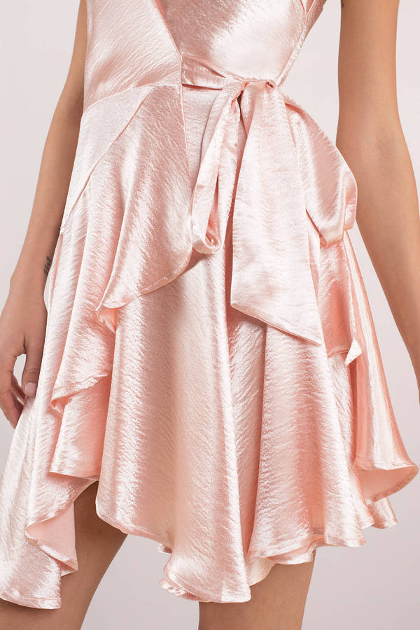 Pink satin wrap mini dress