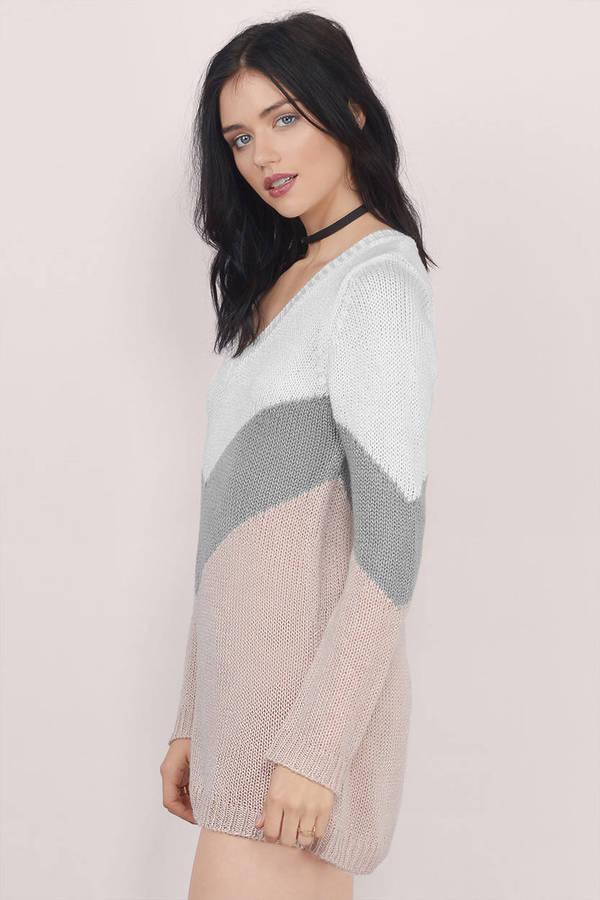 93168744869d Blush Pink Dress - Sweater Dress - V Neck Knit Dress - Chevron Dress ...