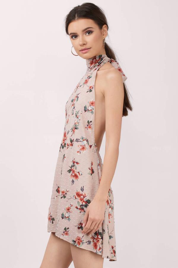 Trendy Blush Multi Shift Dress - Backless Dress - $62.00