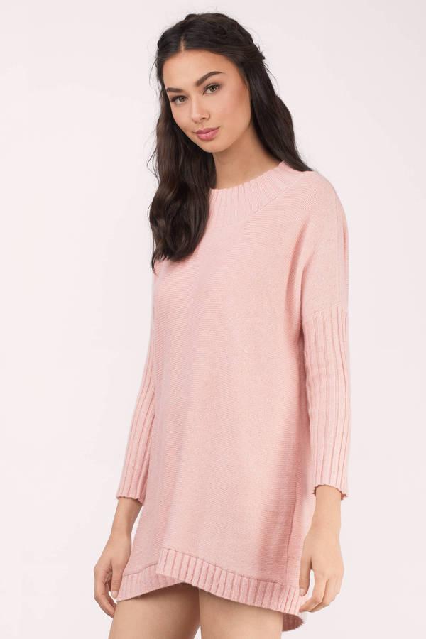 Blush Sweater - Pink Sweater - Tunic Sweater - A Line Sweater ...