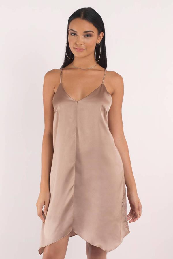 Six Crisp Days Coventry Bronze Satin Cami Shift Dress