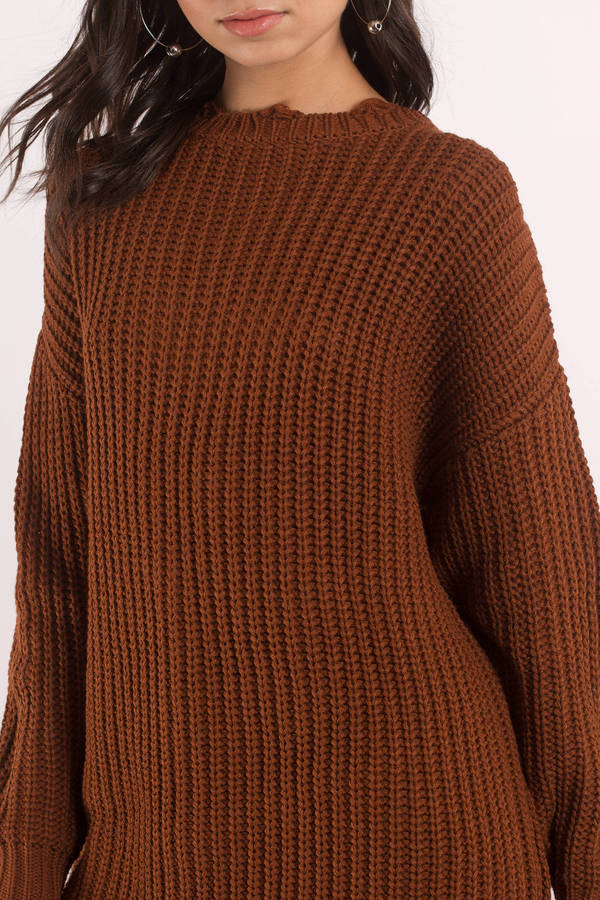 Moon River Leslie Brown Oversized Sweater - $74 | Tobi US