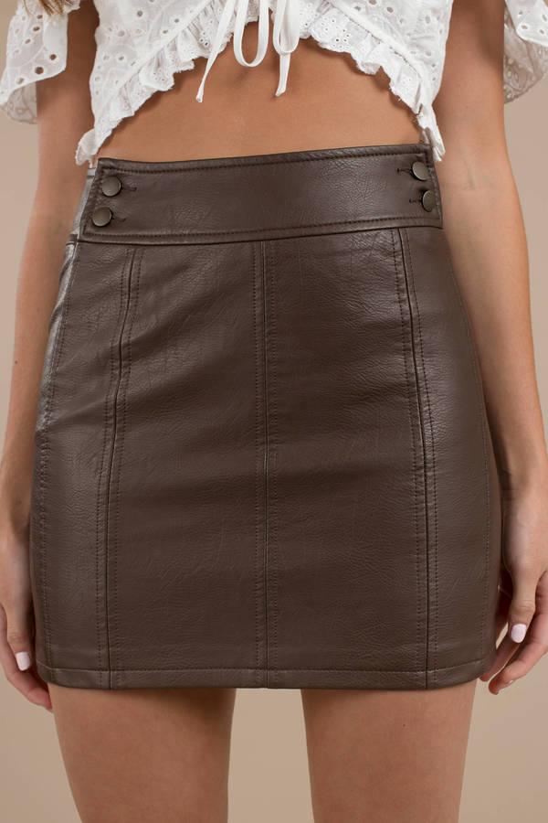 e21d6a703 ... Free People Free People Retro Brown Bodycon Mini Skirt ...