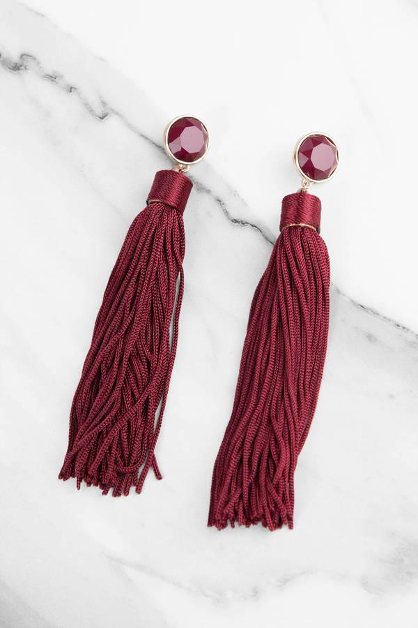 Delilah Burgundy Tassel Earrings 20 Tobi Us