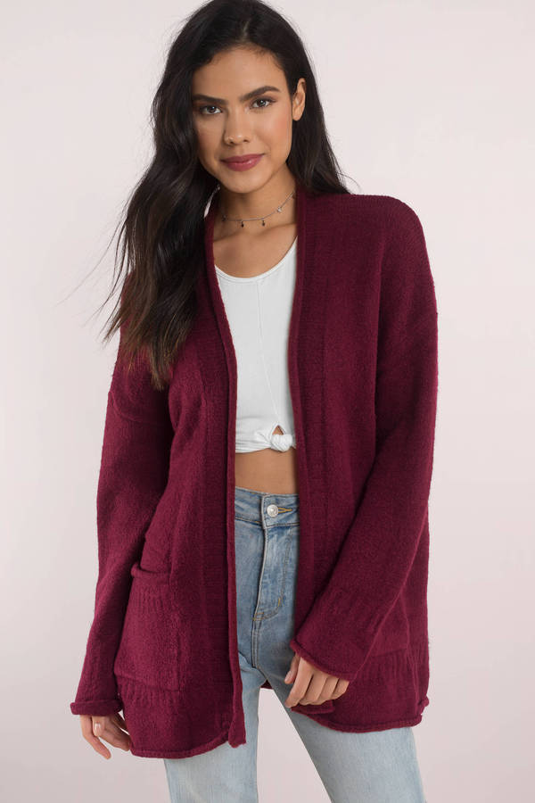 0bf0a90dee Cute Burgundy Cardigan - Long Sleeve - Open Front Cardigan -  30 ...