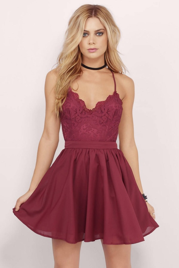 Mila Burgundy Lace Pleated Skater Dress Mila Burgundy Lace Pleated Skater  Dress ... 8fe66bd0f270