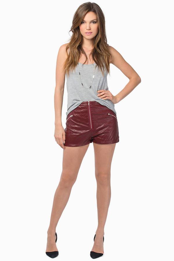 Quilted Zip High Waist Shorts