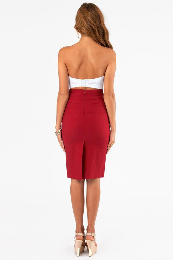 Seamed Waist Pencil Skirt