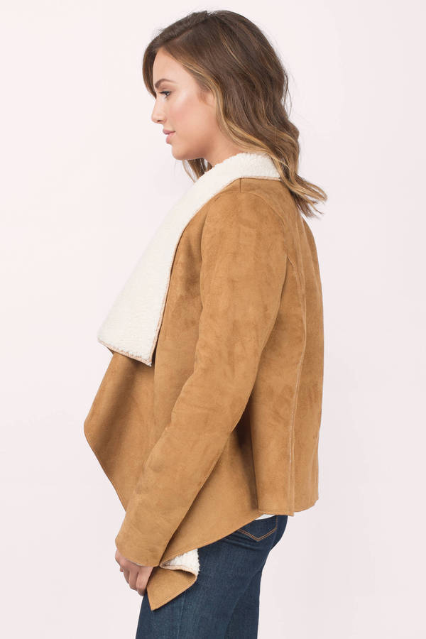 Trendy Camel Jacket - Brown Jacket - Shearling Jacket - Camel ...