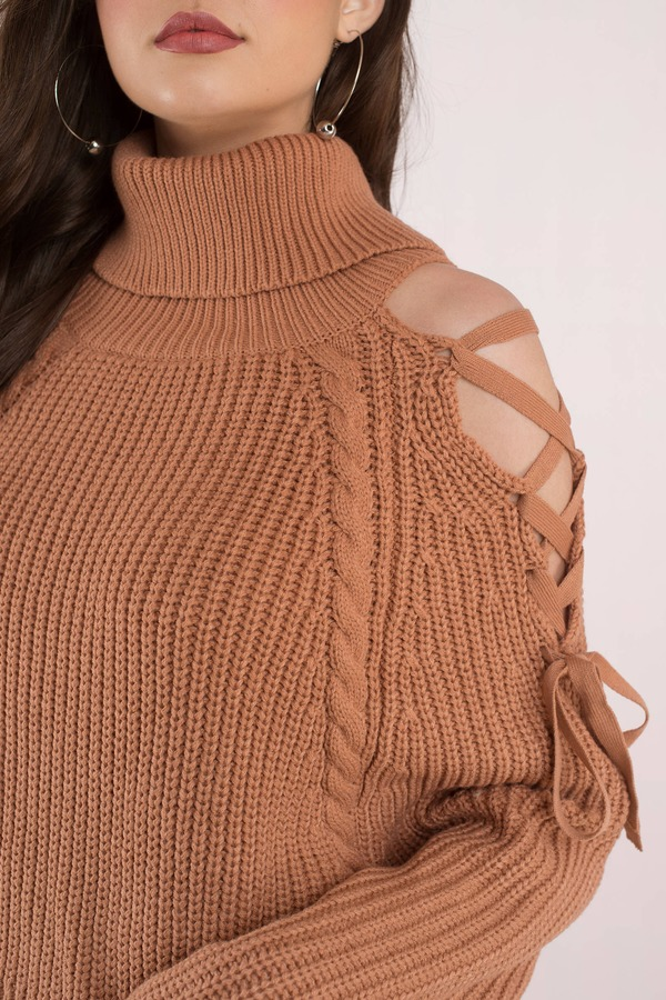 Lara Lace Up Camel Turtleneck Sweater - $43 | Tobi US