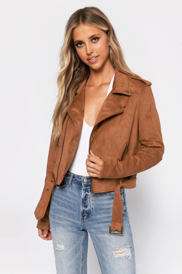 44d05d3c72 ... Tobi Suede Jackets, Camel, Ride On Faux Suede Moto Jacket, Tobi