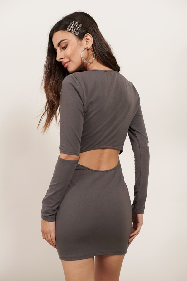 Sexy Charcoal Bodycon Dress Long Sleeve Dress Bodycon