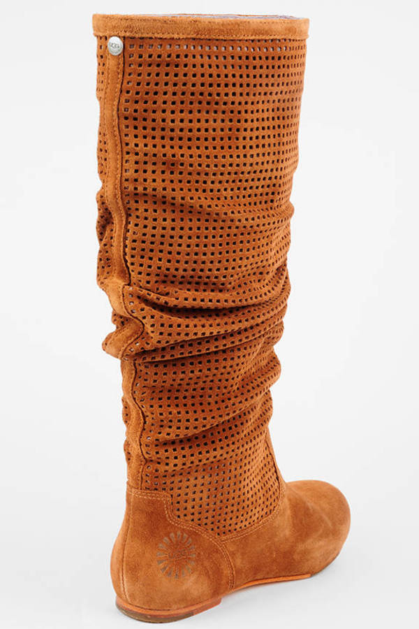 Cute Brown Ugg Boots Perforated Boots Brown Tall Boots