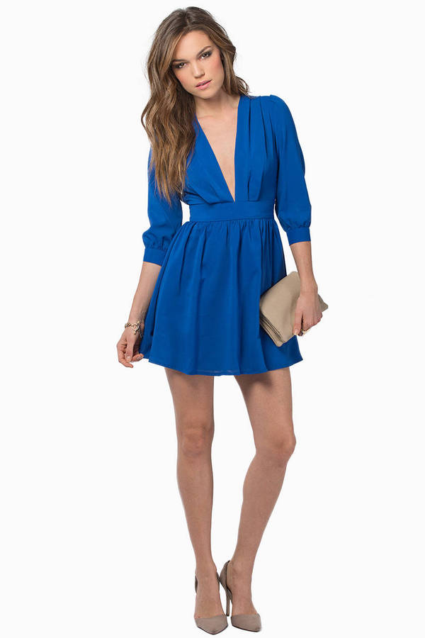 Stroll Along Deep V Dress