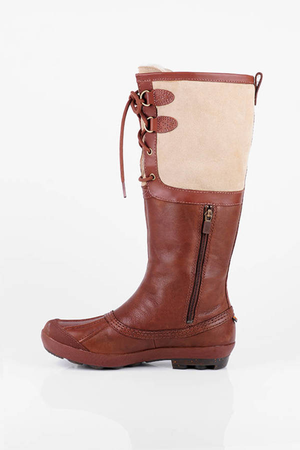 Brown Ugg Boots Tall Duck Boots Brown Lace Up Rubber