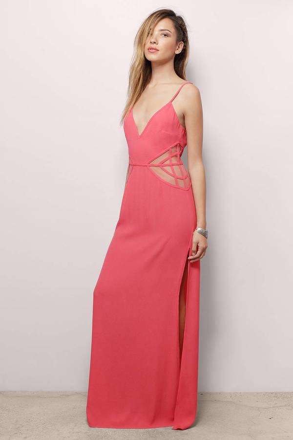 Sexy Coral Maxi Dress - Orange Dress - Cut Out Dress - $16.00
