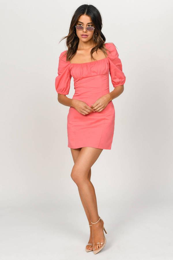 0a73d5c0b781 Monet Coral Puff Sleeve Bodycon Dress Monet Coral Puff Sleeve Bodycon Dress  ...