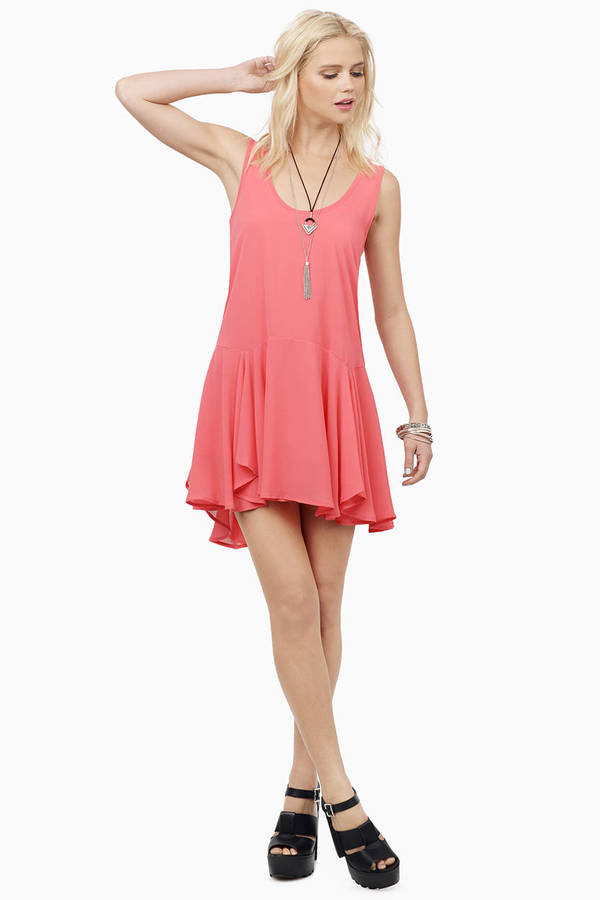 Cute Coral Shift Dress - Orange Dress - Pleated Dress - $11.00