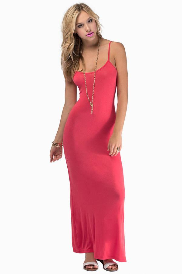 Coral Maxi Dress - Orange Dress - Tie Back Dress - $16.00